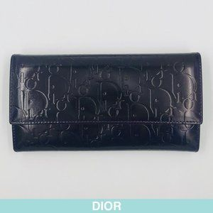 Auth Dior Oblique Jacquard purple leather wallet